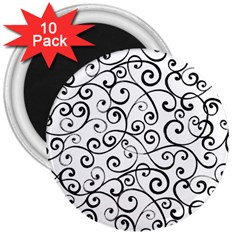 Black And White Swirls 3  Magnets (10 Pack)  by mccallacoulture
