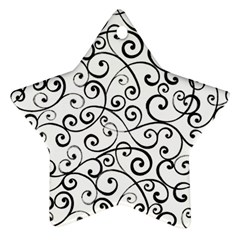Black And White Swirls Star Ornament (two Sides) by mccallacoulture