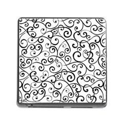 Black And White Swirls Memory Card Reader (square 5 Slot) by mccallacoulture