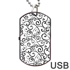 Black And White Swirls Dog Tag Usb Flash (two Sides) by mccallacoulture