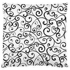 Black And White Swirls Large Cushion Case (one Side) by mccallacoulture