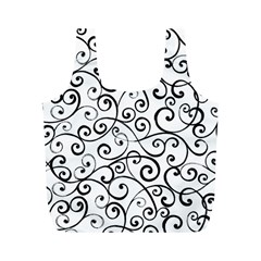 Black And White Swirls Full Print Recycle Bag (m) by mccallacoulture
