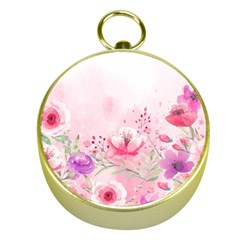 Pink Floral Print Gold Compasses