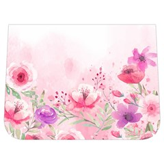 Pink Floral Print Buckle Messenger Bag