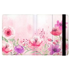 Pink Floral Print Apple Ipad Pro 12 9   Flip Case by designsbymallika