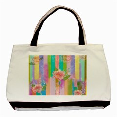 Stripes Floral Print Basic Tote Bag (two Sides)