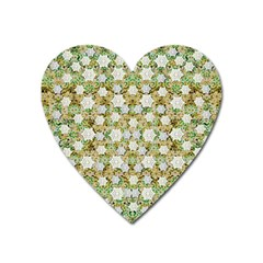 Snowflakes Slightly Snowing Down On The Flowers On Earth Heart Magnet by pepitasart