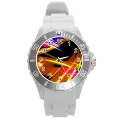 Lines Vibrations Wave Pattern Round Plastic Sport Watch (l) by AnjaniArt