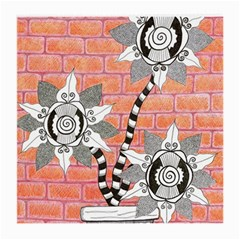 Brick Wall Flower Pot Medium Glasses Cloth