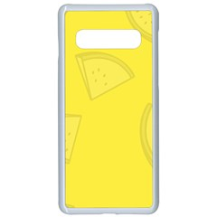 Yellow Pineapple Background Samsung Galaxy S10 Seamless Case(white)