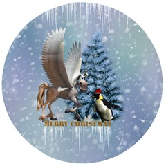Merry Christmas, Funny Pegasus With Penguin Wooden Bottle Opener (round)