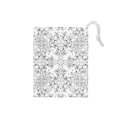 Black And White Decorative Ornate Pattern Drawstring Pouch (small) by dflcprintsclothing