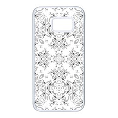 Black And White Decorative Ornate Pattern Samsung Galaxy S7 White Seamless Case by dflcprintsclothing