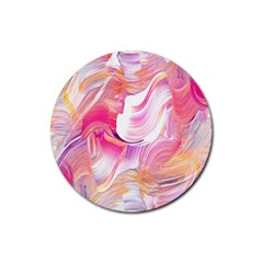 Pink Paint Brush Rubber Coaster (round)