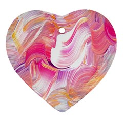 Pink Paint Brush Heart Ornament (two Sides)