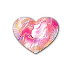 Pink Paint Brush Heart Coaster (4 Pack)