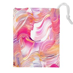 Pink Paint Brush Drawstring Pouch (2xl)
