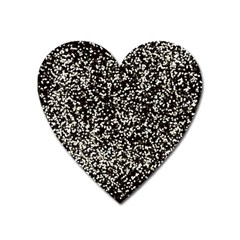 Black And White Confetti Pattern Heart Magnet by yoursparklingshop