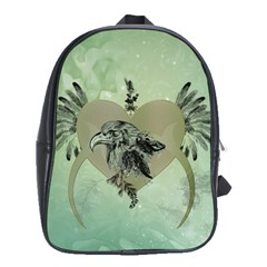 Eagle, Animal, Bird, Feathers, Fantasy, Lineart, Flowers, Blossom, Elegance, Decorative School Bag (large) by FantasyWorld7