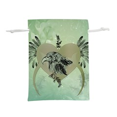 Eagle, Animal, Bird, Feathers, Fantasy, Lineart, Flowers, Blossom, Elegance, Decorative Lightweight Drawstring Pouch (s)