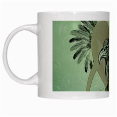 Eagle, Animal, Bird, Feathers, Fantasy, Lineart, Flowers, Blossom, Elegance, Decorative White Mugs by FantasyWorld7