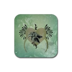 Eagle, Animal, Bird, Feathers, Fantasy, Lineart, Flowers, Blossom, Elegance, Decorative Rubber Coaster (square)  by FantasyWorld7