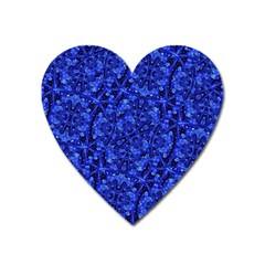 Blue Fancy Ornate Print Pattern Heart Magnet by dflcprintsclothing