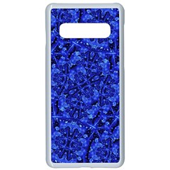 Blue Fancy Ornate Print Pattern Samsung Galaxy S10 Seamless Case(white) by dflcprintsclothing