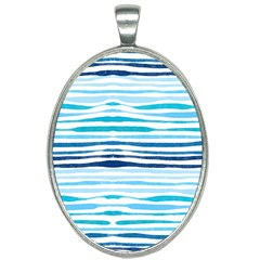 Blue Waves Pattern Oval Necklace