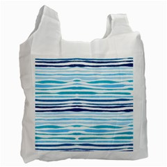 Blue Waves Pattern Recycle Bag (two Side) by designsbymallika