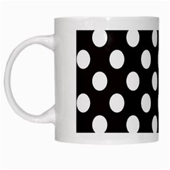 Black With White Polka Dots White Mugs by mccallacoulture