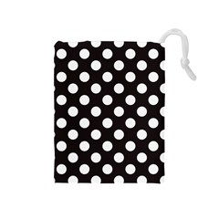 Black With White Polka Dots Drawstring Pouch (medium) by mccallacoulture