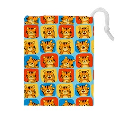 Cute Tiger Pattern Drawstring Pouch (xl)