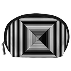 Maze Design Black White Background Accessory Pouch (large)