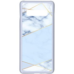 Blue Marble Print Samsung Galaxy S10 Plus Seamless Case(white) by designsbymallika