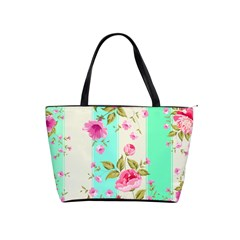 Stripes Floral Print Classic Shoulder Handbag by designsbymallika