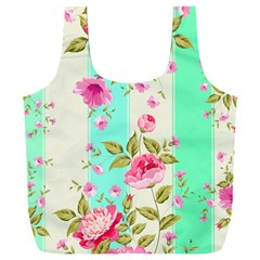 Stripes Floral Print Full Print Recycle Bag (xxxl) by designsbymallika
