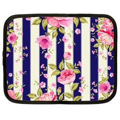 Stripes Floral Print Netbook Case (large) by designsbymallika