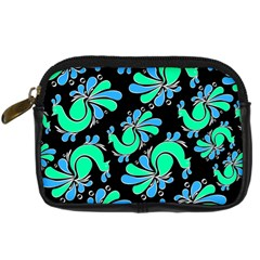 Peacock Pattern Digital Camera Leather Case by designsbymallika