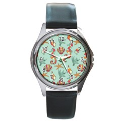 Coral Love Round Metal Watch