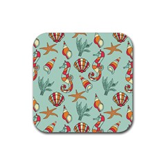 Coral Love Rubber Square Coaster (4 Pack)