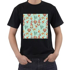 Coral Love Men s T Shirt (black) (two Sided)