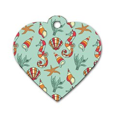 Coral Love Dog Tag Heart (two Sides)