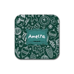 Green Xmas Drink Coaster (square) by xmasyancow