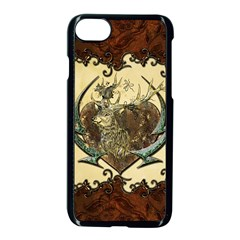 Wonderful Deer With Leaves And Hearts Iphone 7 Seamless Case (black) by FantasyWorld7