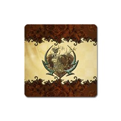 Wonderful Deer With Leaves And Hearts Square Magnet by FantasyWorld7