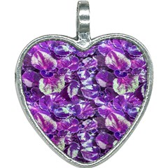 Botanical Violet Print Pattern 2 Heart Necklace by dflcprintsclothing