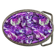 Botanical Violet Print Pattern 2 Belt Buckles by dflcprintsclothing