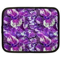 Botanical Violet Print Pattern 2 Netbook Case (large) by dflcprintsclothing