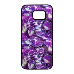 Botanical Violet Print Pattern 2 Samsung Galaxy S7 Edge Black Seamless Case by dflcprintsclothing